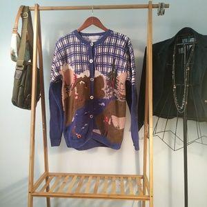 Cotton Handknit Sweater Plaid Fishing Camp L